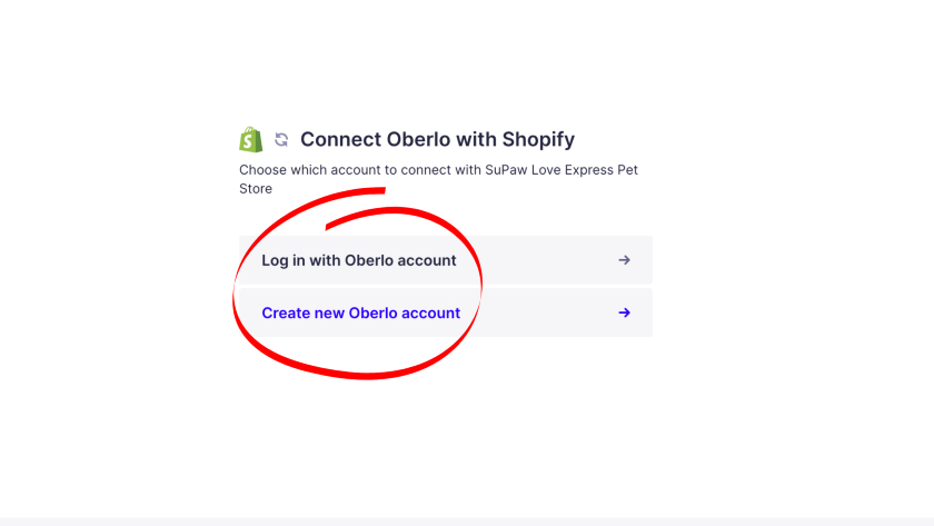 log in or create new account on Oberlo