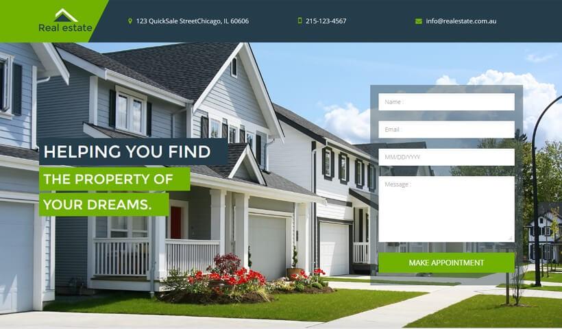OLanding real estate lead generation landing page design