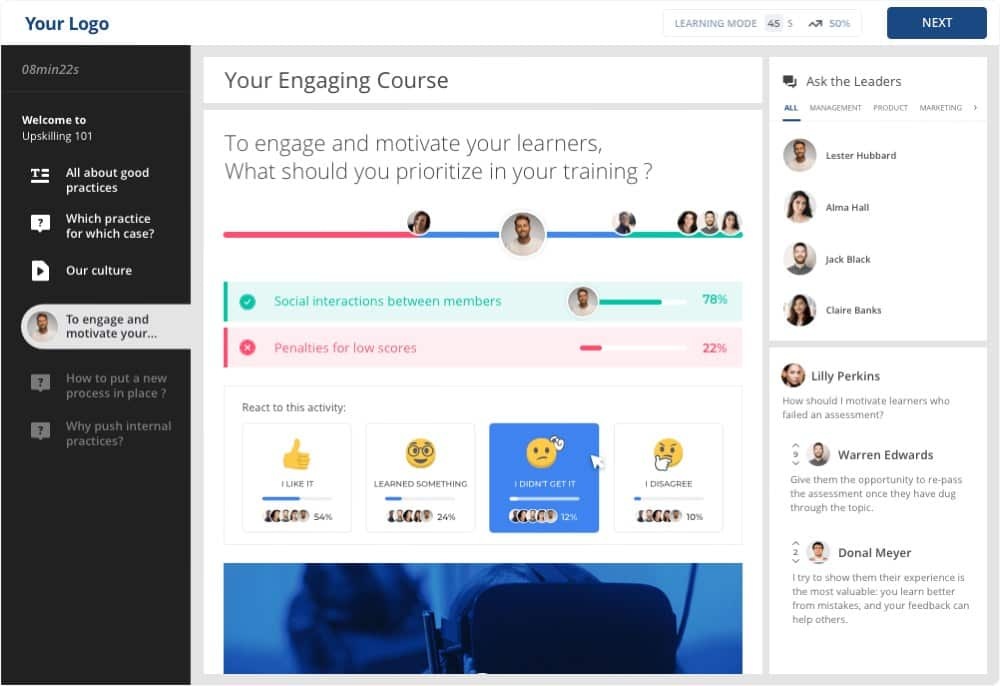 Screenshot of 360Learning Provides an Intuitive Dashboard