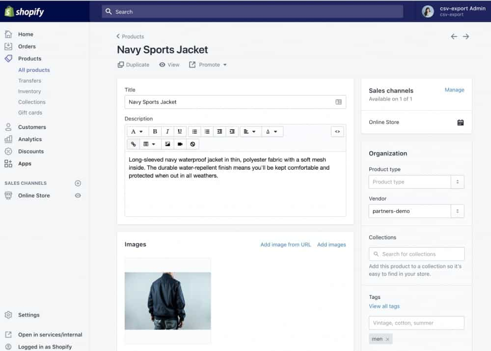 Screenshot of Adding Specific Details to Each Product on Shopify