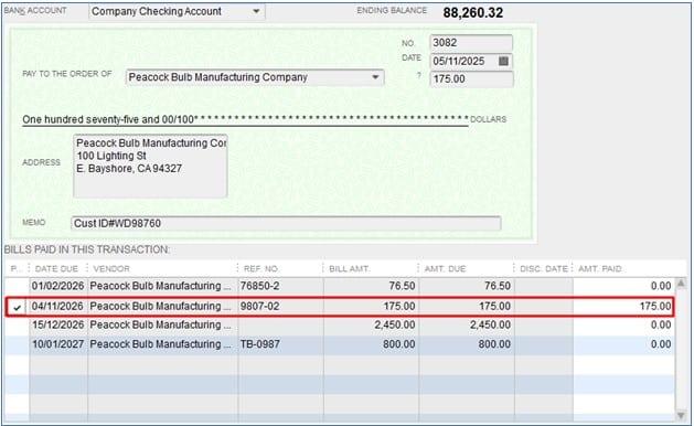 Bill Payment Check to Void in QuickBooks Desktop