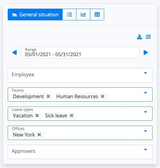 Screenshot of Building Reports on LeaveBoard