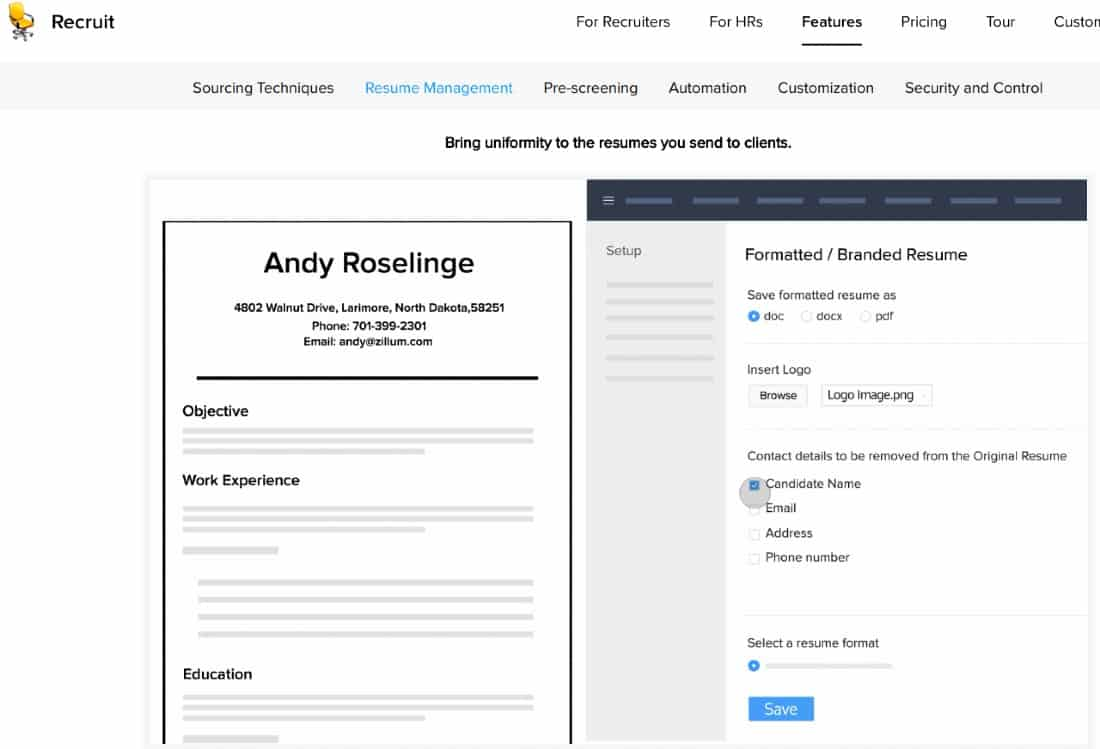 Screenshot of Candidate Data is Parsed from the Resume in Zoho Recruit