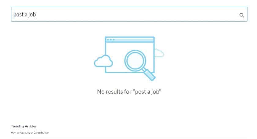 Screenshot of CareerBuilder Post a Job No Results