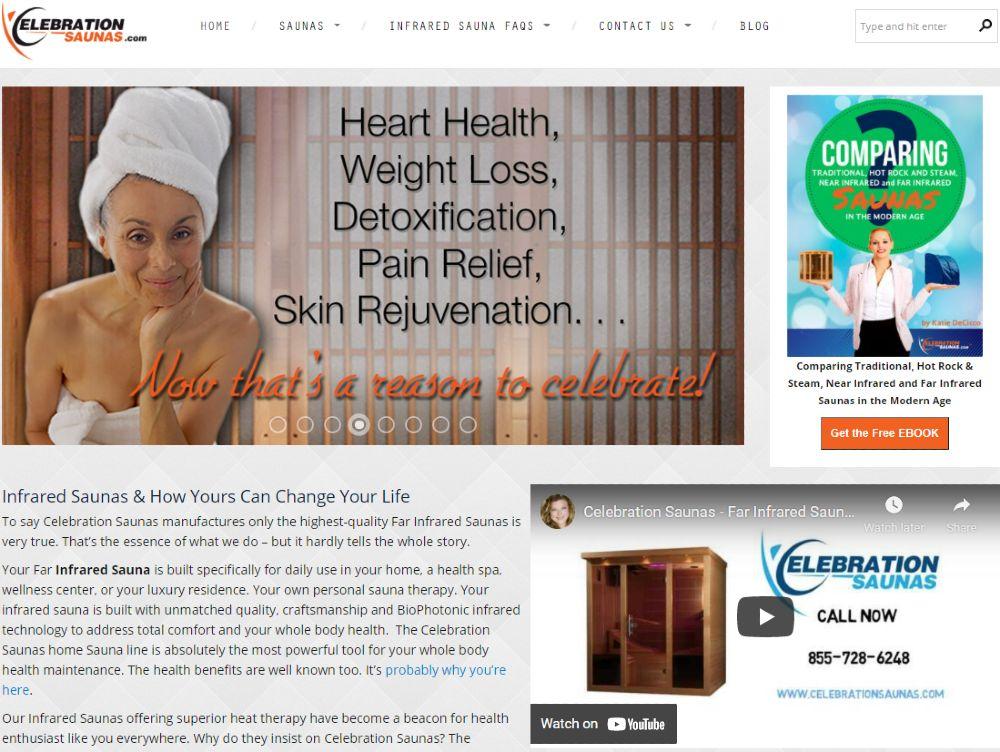 Screenshot of Celebration Sauna Content Example
