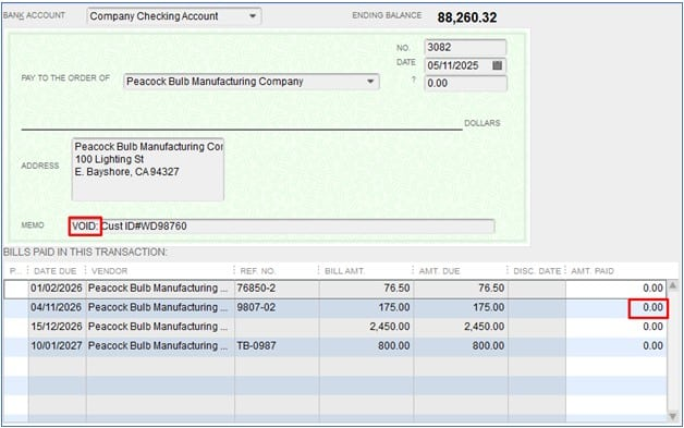 Check Successfully Voided in QuickBooks Desktop