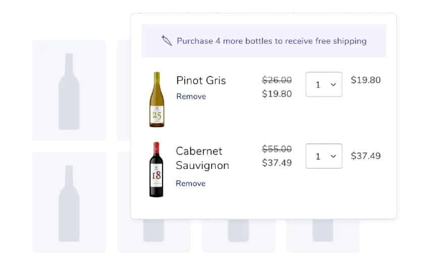 Screenshot of Commerce7 Cart Wines