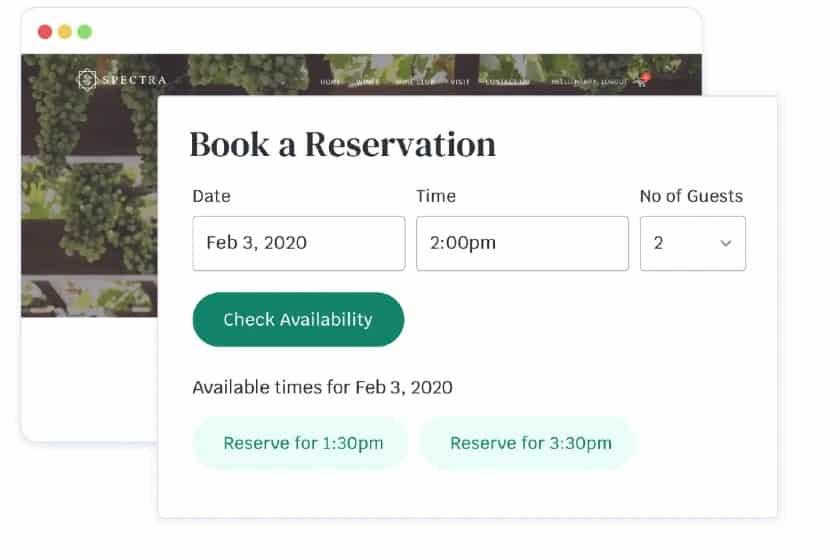 Screenshot of Commerce7 Reservations