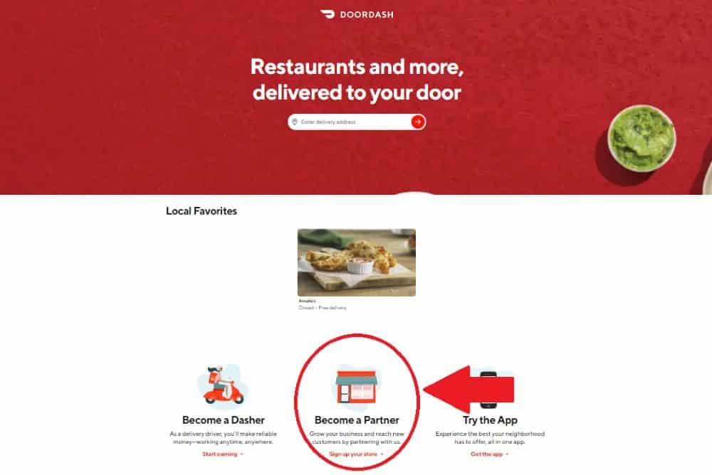 Screenshot of Doordash Homepage