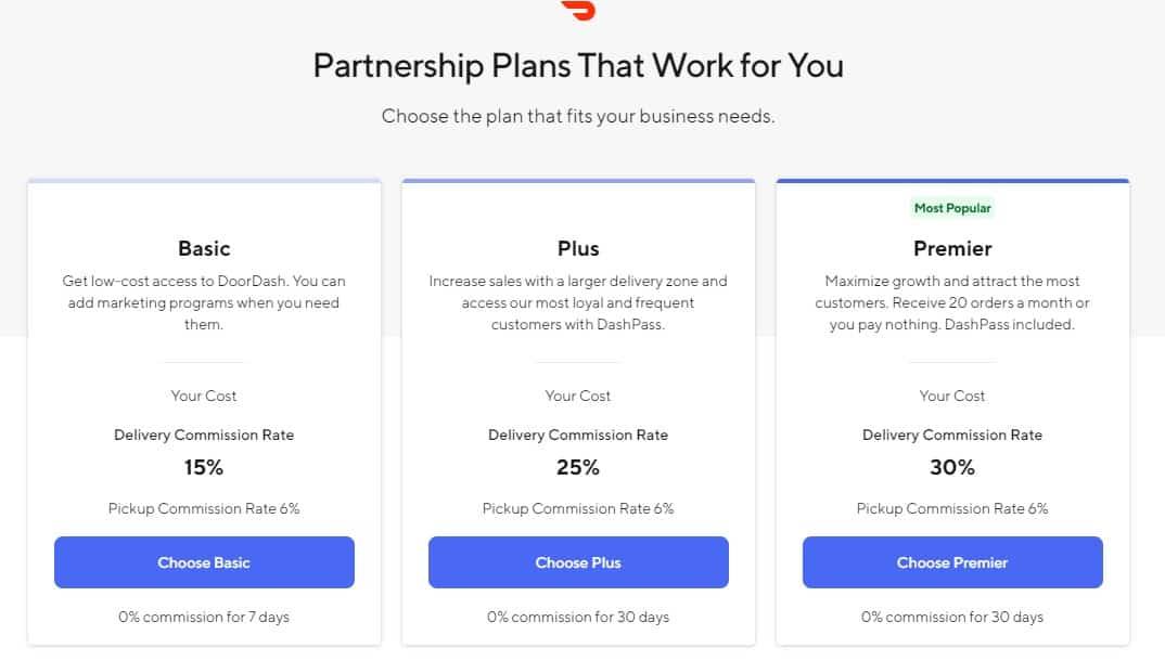 Screenshot of Doordash Plans