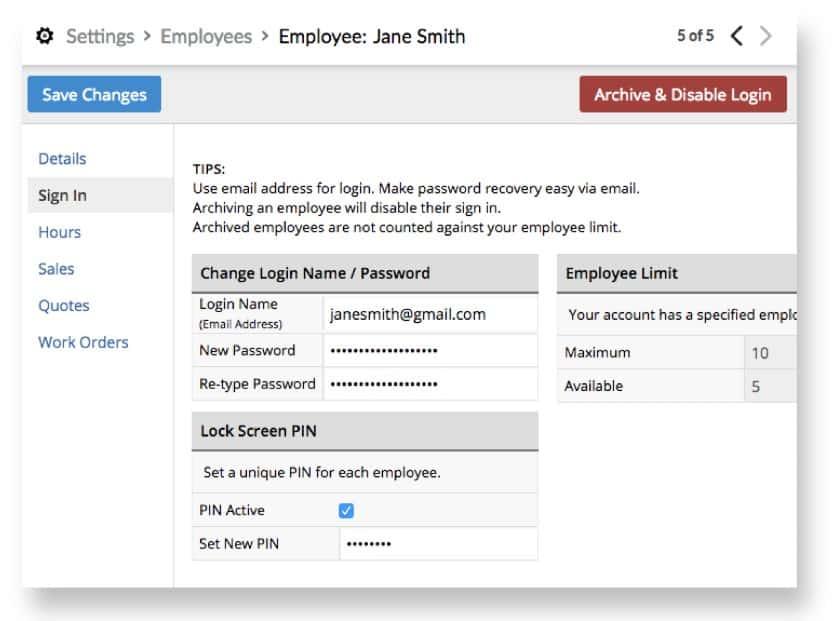 Screenshot of Employee Log-In Credentials