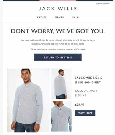 Screenshot of Example Cart Abandonment Email Sent from Jack Wills
