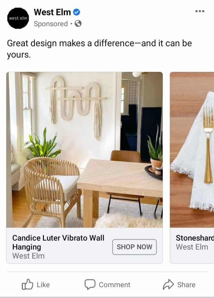 Screenshot of Facebook Ad Sponsored Post