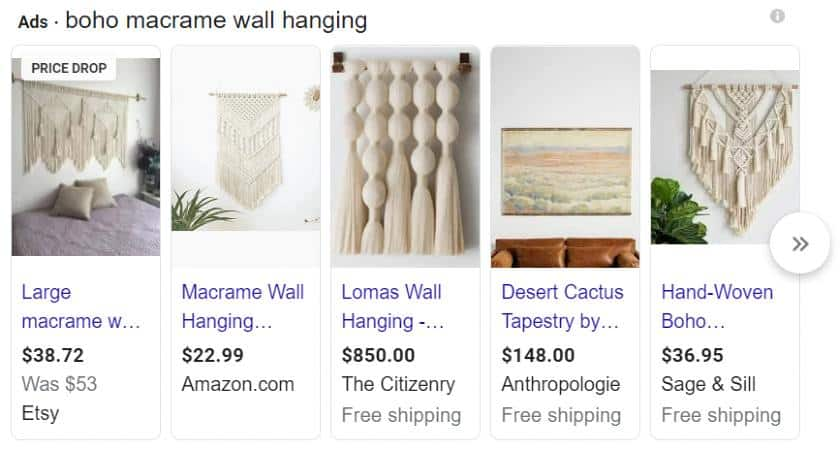 Screenshot of Google Search Boho Macrame Wall Hanging
