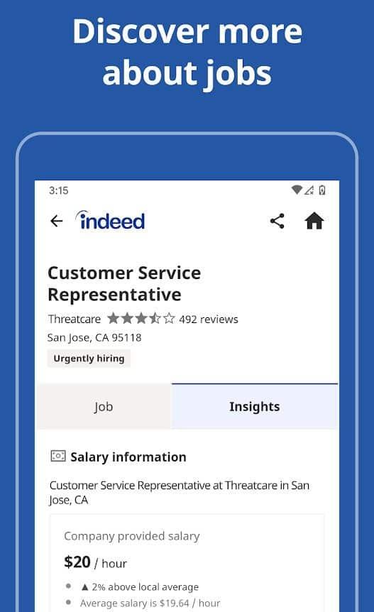 Screenshot of Indeed Mobile App CSR