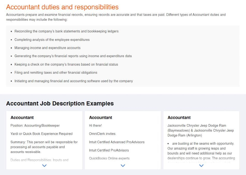 Screenshot of Indeed Offers Job Description Templates and Examples