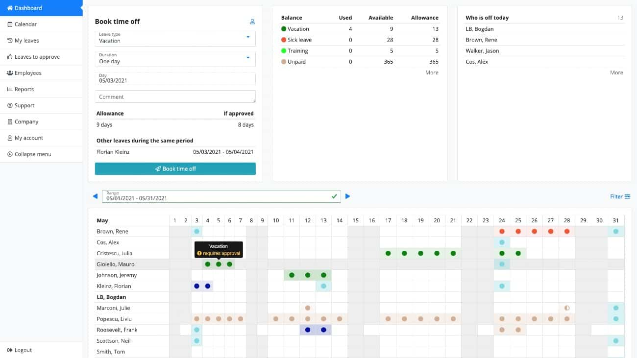 Screenshot of LeaveBoard Bright Interface