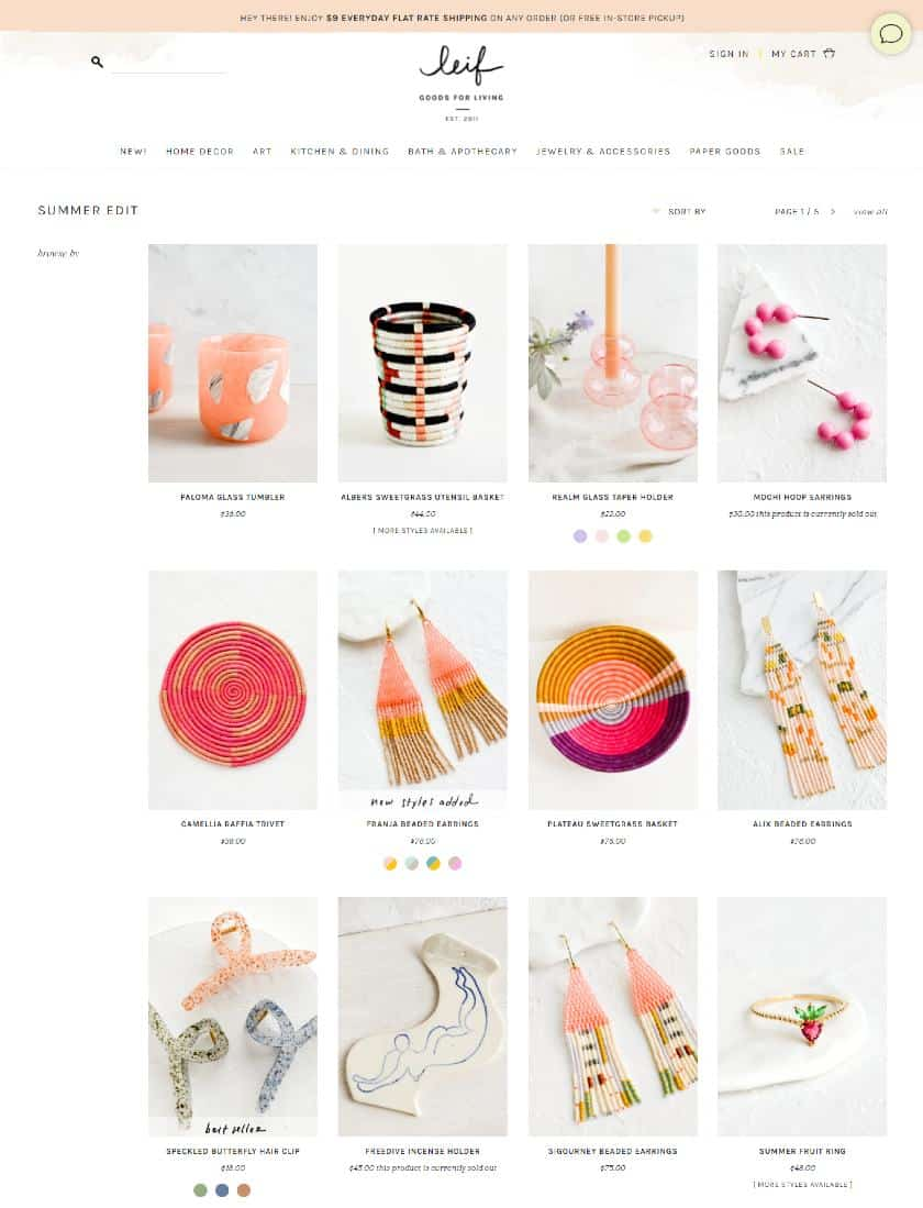 Screenshot of Leifshop Example of a Shopify Store