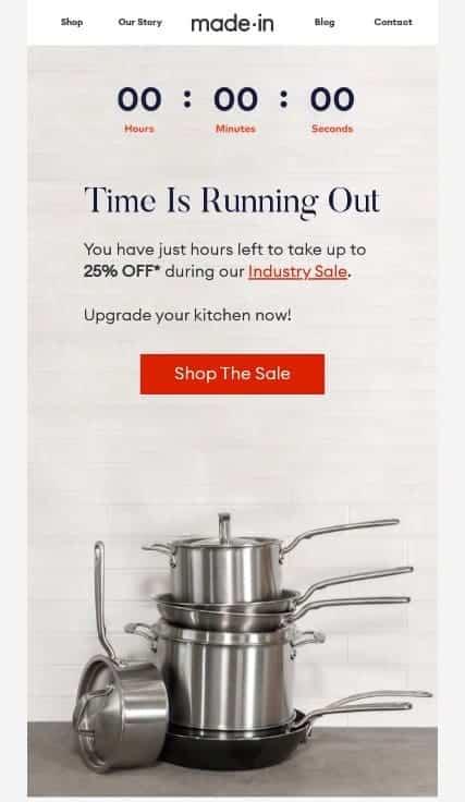 Screenshot of Made In Cookware Offering Discount