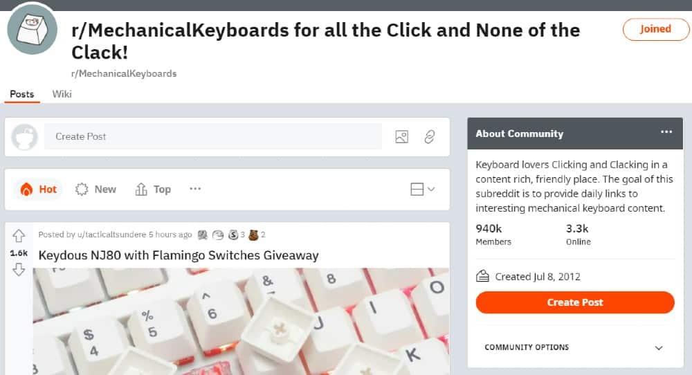Screenshot of Mechanical Keyboard on Reddit