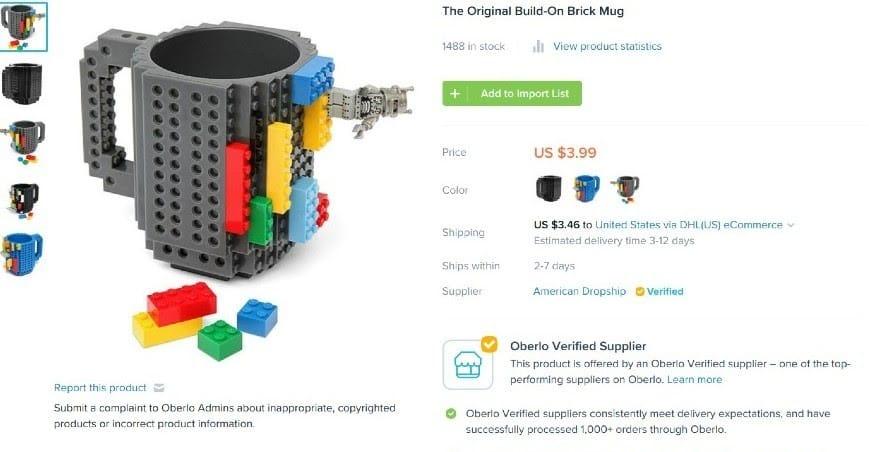 Screenshot of Mug Add to Import