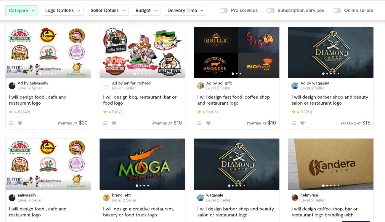 Screenshot of Quick Search For Ghost Kitchen Logo on Fiverr