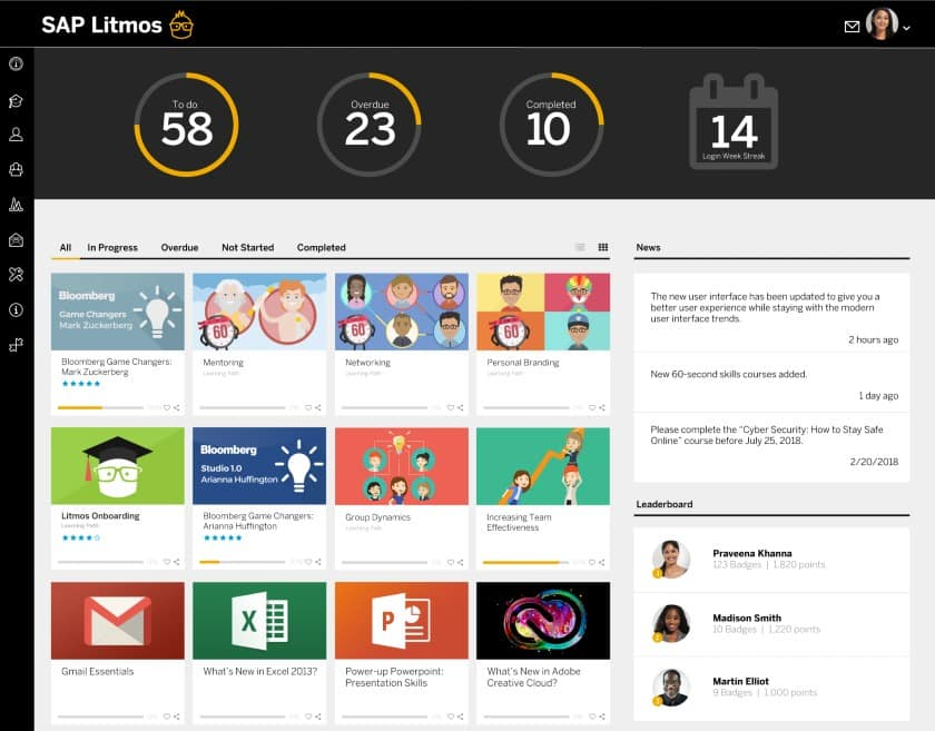Screenshot of SAP Litmos All Available Courses