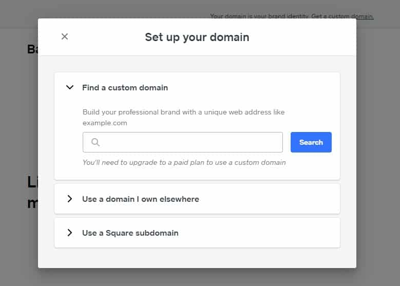 Screenshot of Setting Up Domain on Square