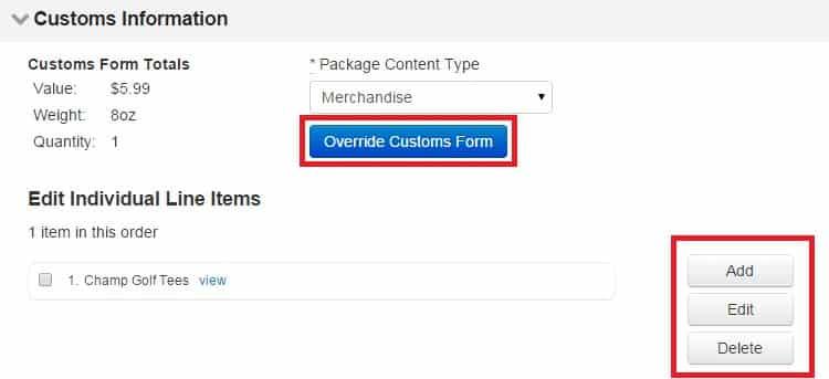 Screenshot of ShippingEasy Customs Information