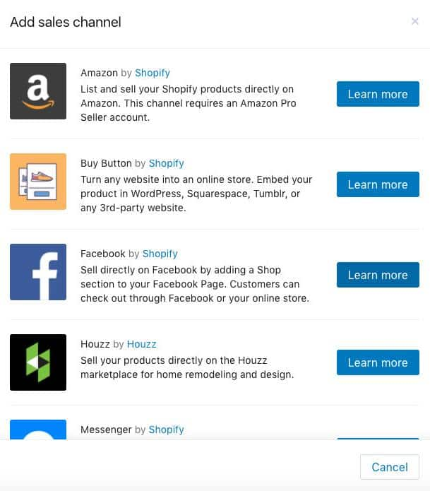 Screenshot of Shopify Sells Directly on Other Popular Sales Channels