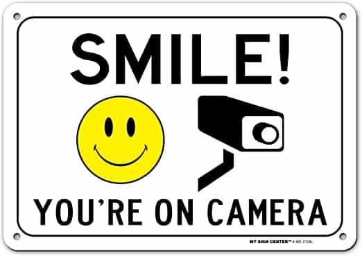 Screenshot of Smile on Camera Sign