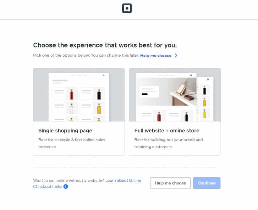 Screenshot of Square Choosing Experience Works Best
