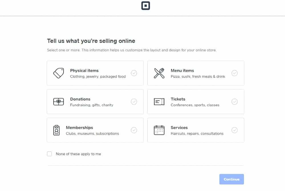 Screenshot of Square Online Ordering Site Set Up