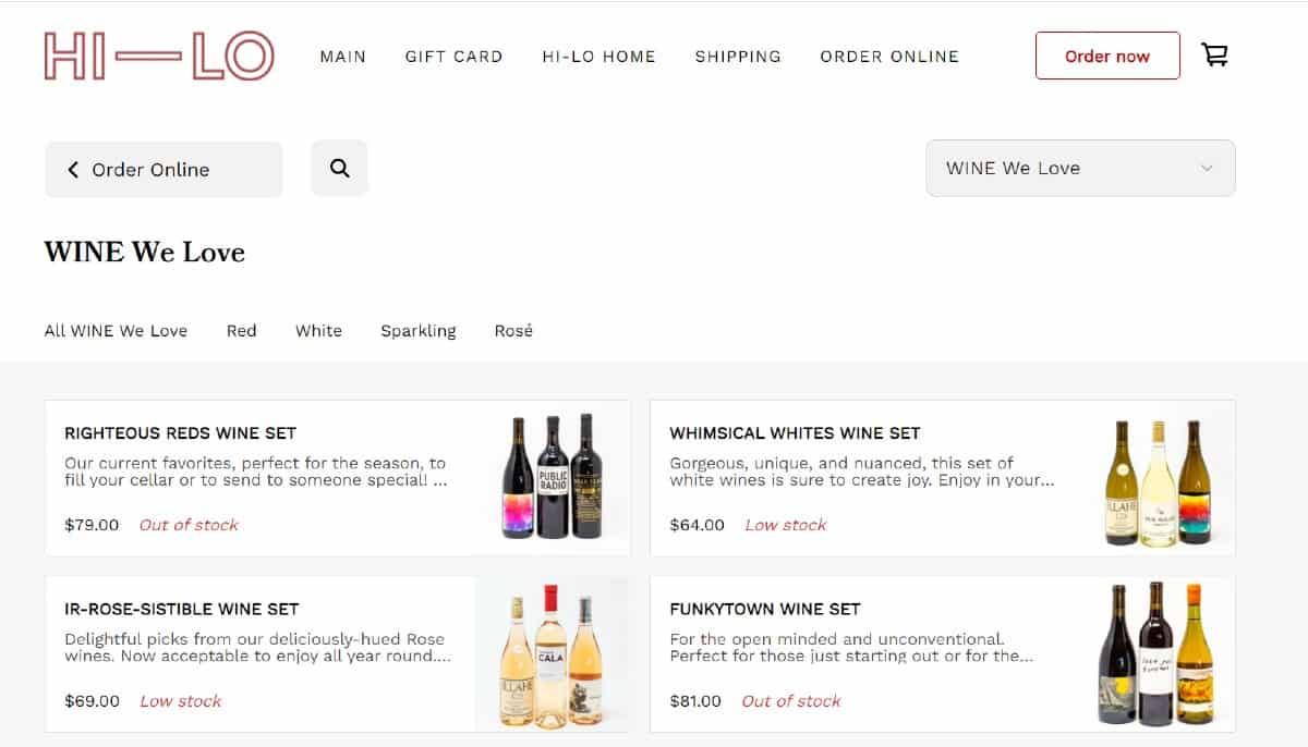 Screenshot of Square Online Wine Store