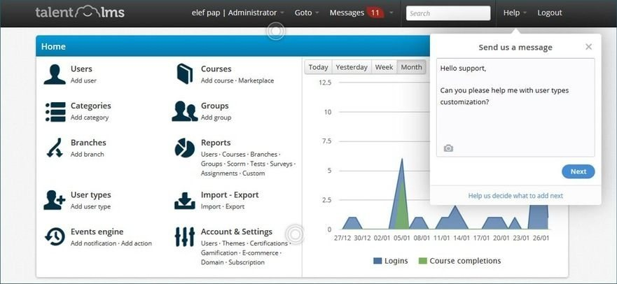 Screenshot of TalentLMS Offering Insights and Reports