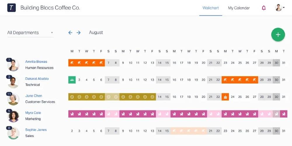 Screenshot of Timetastic Calendar Includes Pending Requests