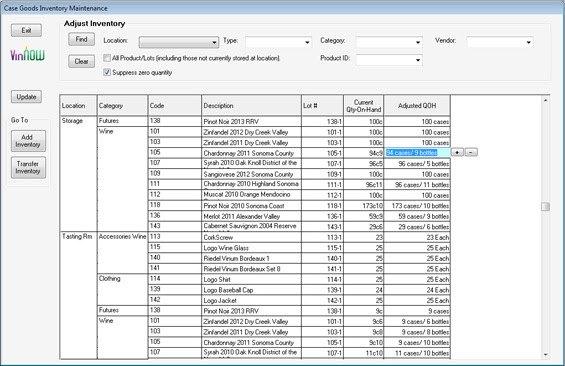 Screenshot of Vinnow Adjust Inventory