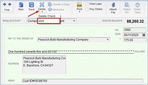 Voiding a Check in QuickBooks Desktop