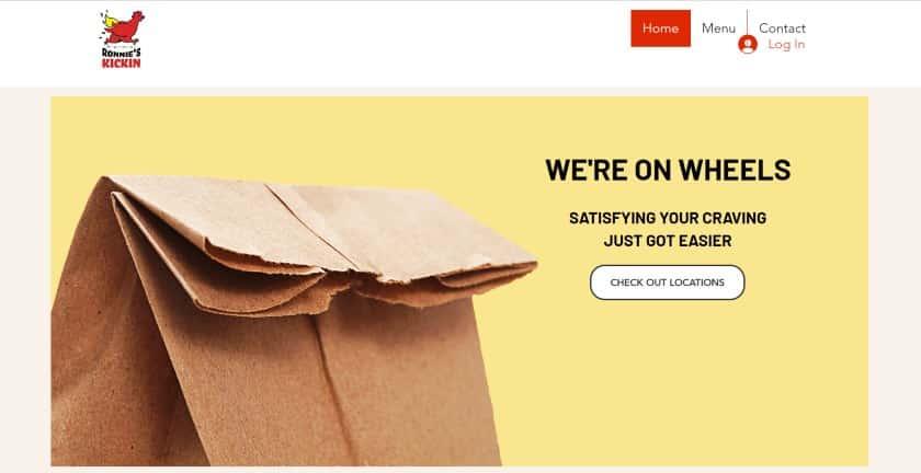 Screenshot of Website for Ronnie Kickin Chicken