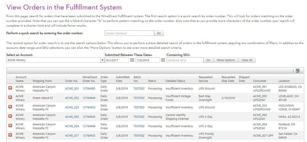 Screenshot of Wine Direct Orders View