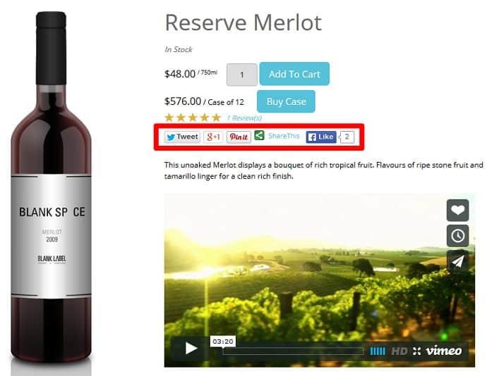 Screenshot of Wine Direct Social Media Options