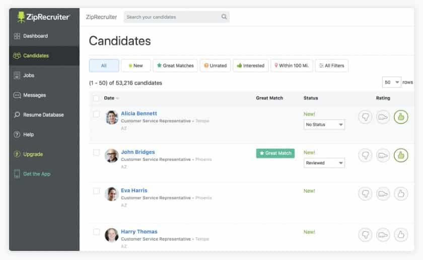 Screenshot of ZipRecruiter Acts as both a Job Board