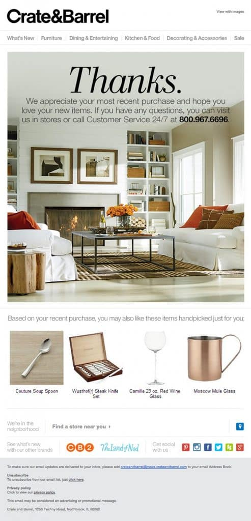 email from Crate and Barrel