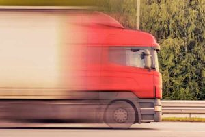 Heavy Truck Driving On Motorway