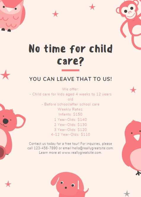 Cute Daycare Flyer from Canva