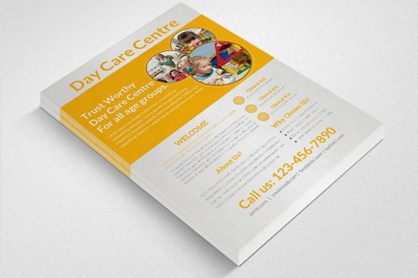 Professional Single sheet Daycare flyers