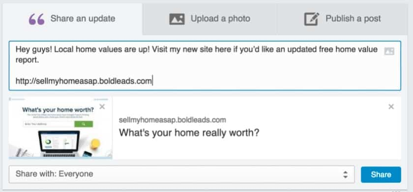 Adding a link to your BoldLeads home evaluation page