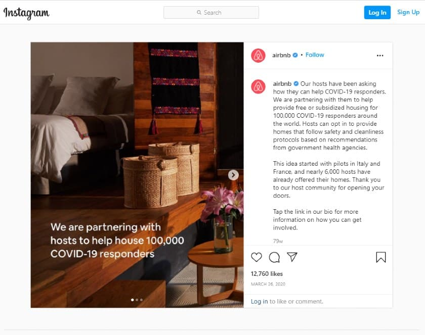 Airbnb Instagram Post About Helping COVID-19 Responders