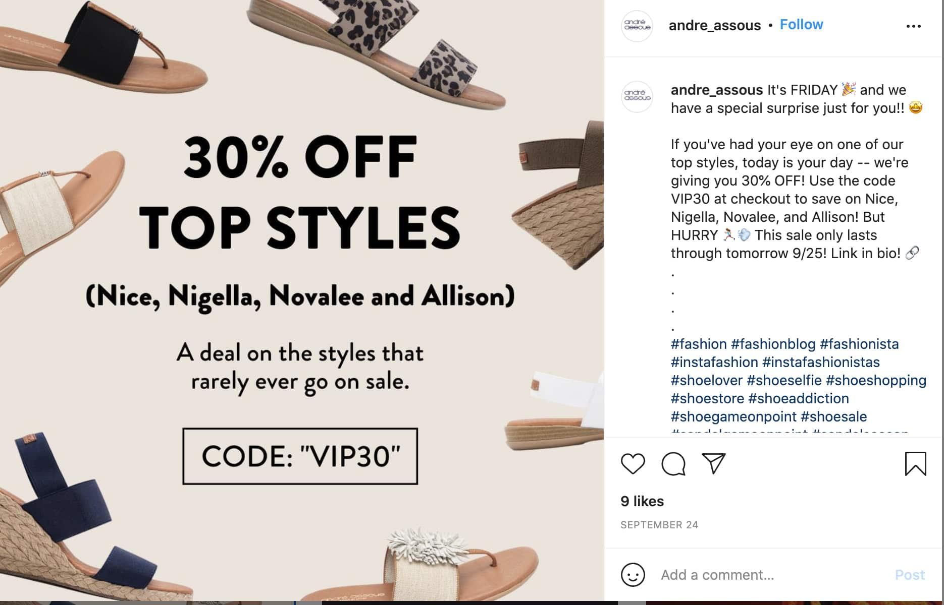 Screenshot of Andre Assous sample instagram post