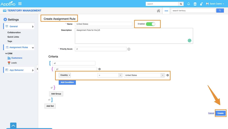 Screenshot of Apptivo Create Assignment rule